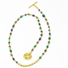 Wrap Emerald Blue Sapphire and Chain