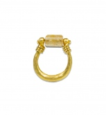 Topaz Bead U Shape Ring
