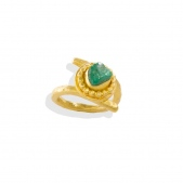Granulation Rough Emerald Ring