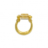 Topaz Bead U Shape Ring