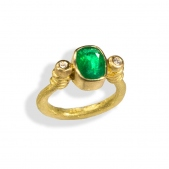 Emerald U Shape Ring